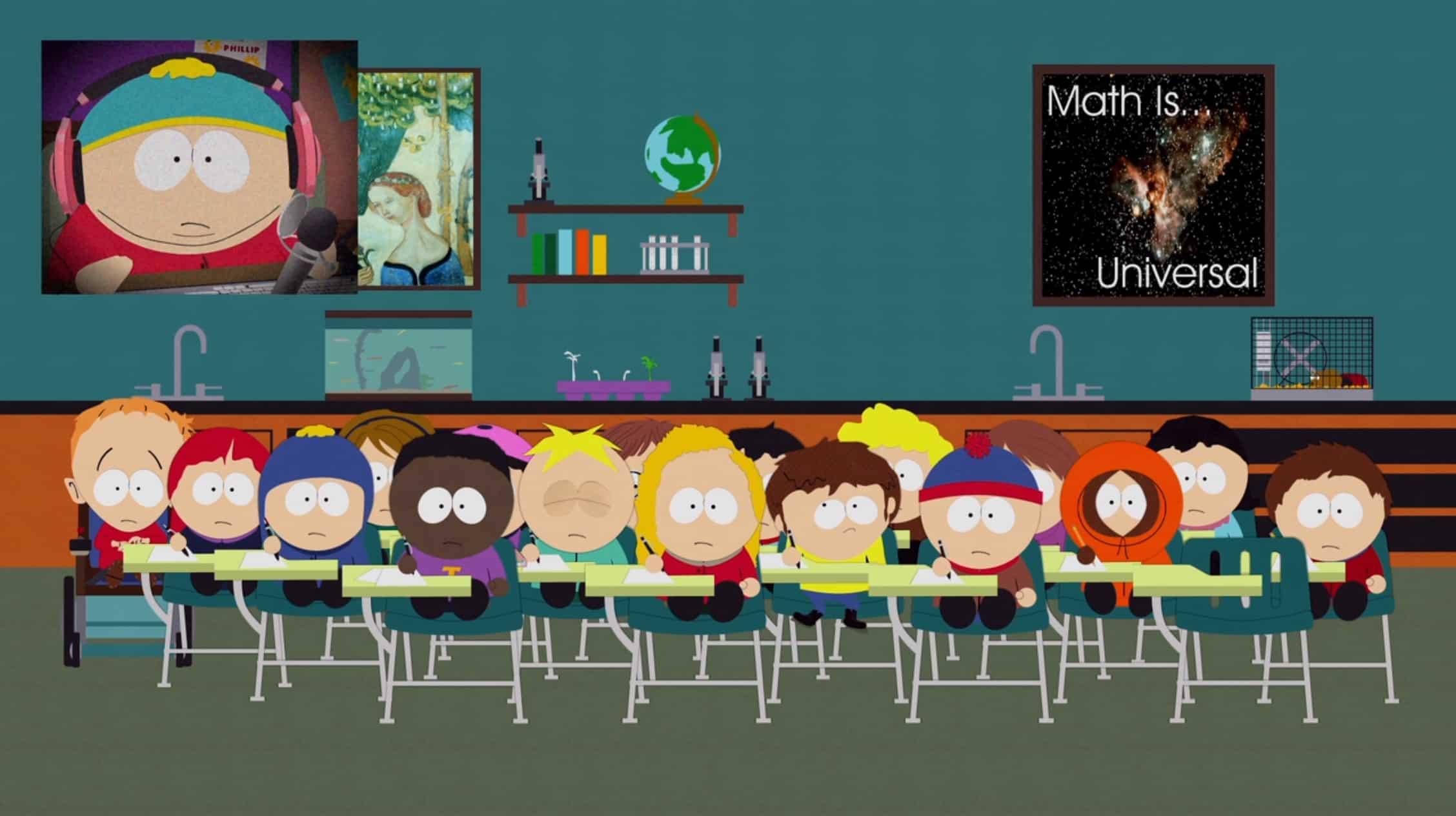 Cartman's stream disrupts Kyle's speech in Mr. Garrison's class.