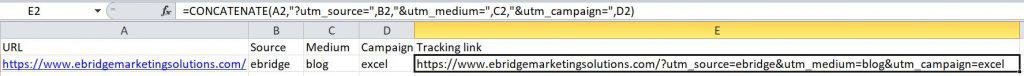 Google tracking link formula
